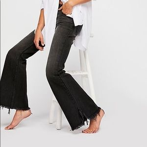 Free People Vintage Flare Frayed Hem Jeans Black